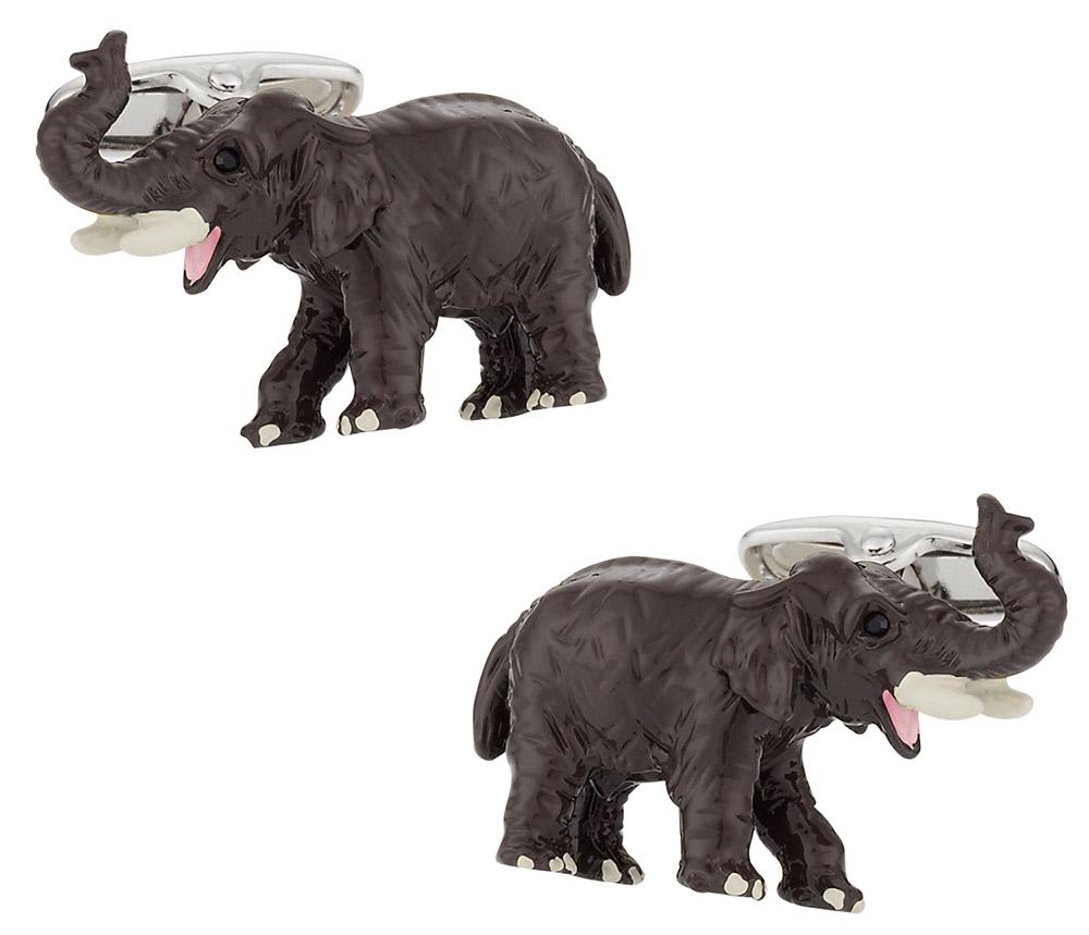 New Novelty Silver Tone Animal Elephant Cufflinks
