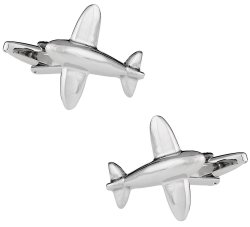 Airplane Cufflinks in Silver