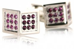 Unique Purple Angled Crystal Cufflinks