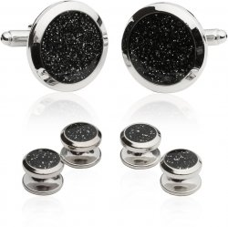Black Diamond Dust Tuxedo Cufflinks and Studs
