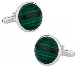 Domed Malachite Cufflinks with Sterling Silver Plate