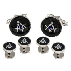 Freemason Masonic Cufflinks Studs Silver Black