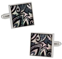Genuine Mother of Pearl Black Gray Cufflinks