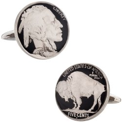 Hand Painted Buffalo Nickel Cufflinks