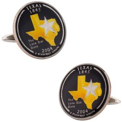 Hand Painted Texas Quarter Cufflinks