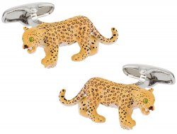 Leopard Cufflinks Painted