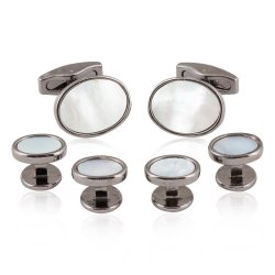 Oval Gunmetal Mother of Pearl Cufflinks Stud Set