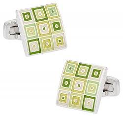 Quilted Cufflinks in Green
