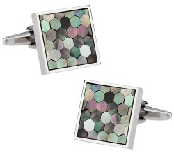 Smokey Mother of Pearl Honeycomb Cufflinks