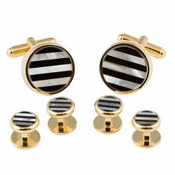 Striped Onyx and Mother of Pearl Gold Cufflinks and Studs