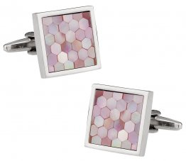 Pink Mother of Pearl Honeycomb Cufflinks