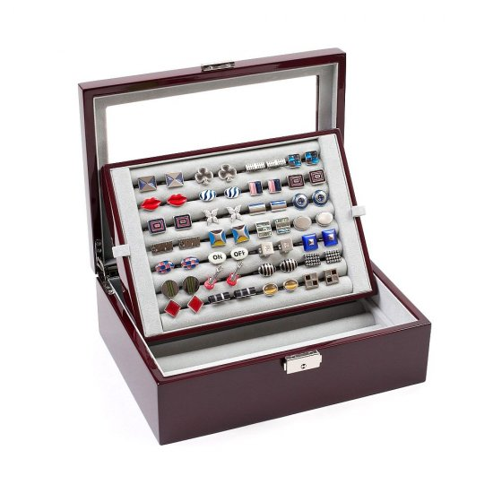 Cufflinks Storage Box Large Mahogany (72 pair capacity)