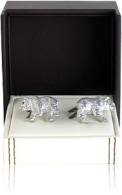 Bear Cufflinks with Swarovski Eyes