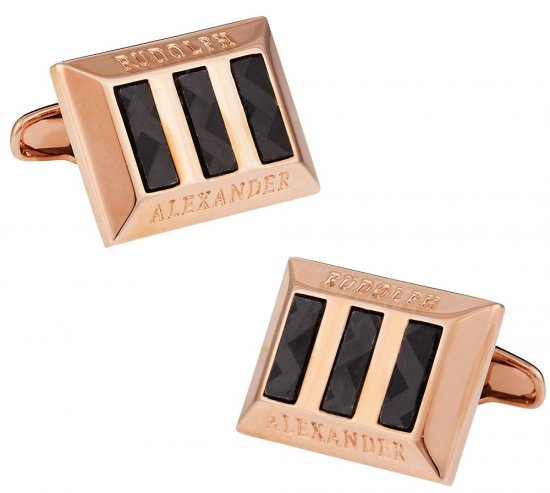 Carbon Fiber Heritage Rose Gold Cufflinks