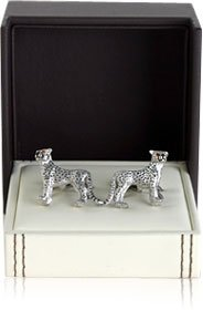Cheetah Cufflinks with Swarovski Eyes