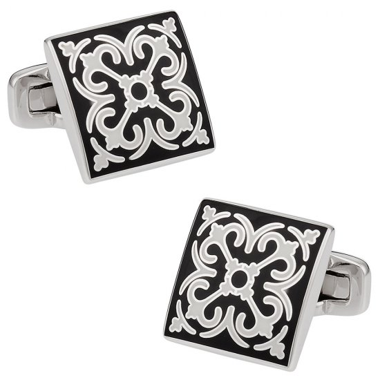 Elegant Black & White Cufflinks