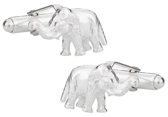 Elephant Cufflinks in Sterling Silver