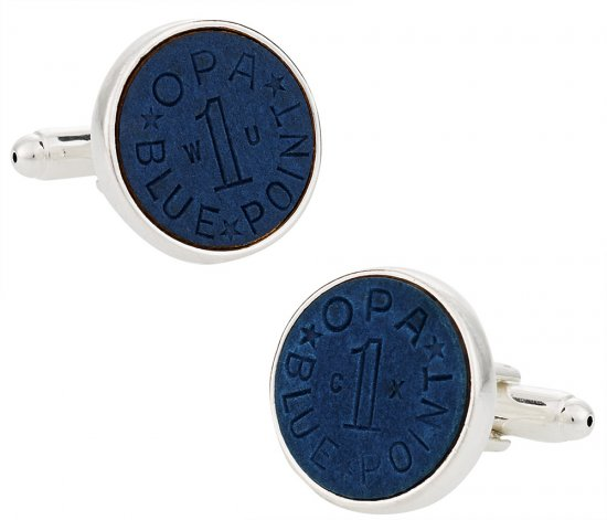 OPA Blue Point WWII Ration Cufflinks Clad in Sterling Silver