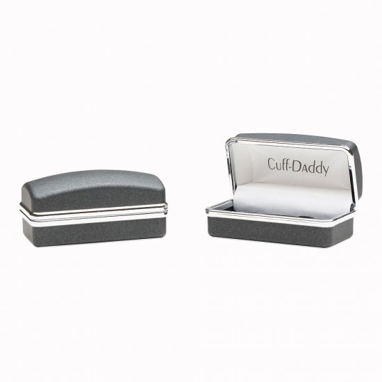 Ribbed Silver Cufflinks