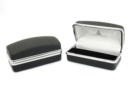 Step Ribbed Gun Metal Cufflinks