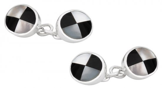 Sterling Silver Onyx Mother of Pearl Cufflinks